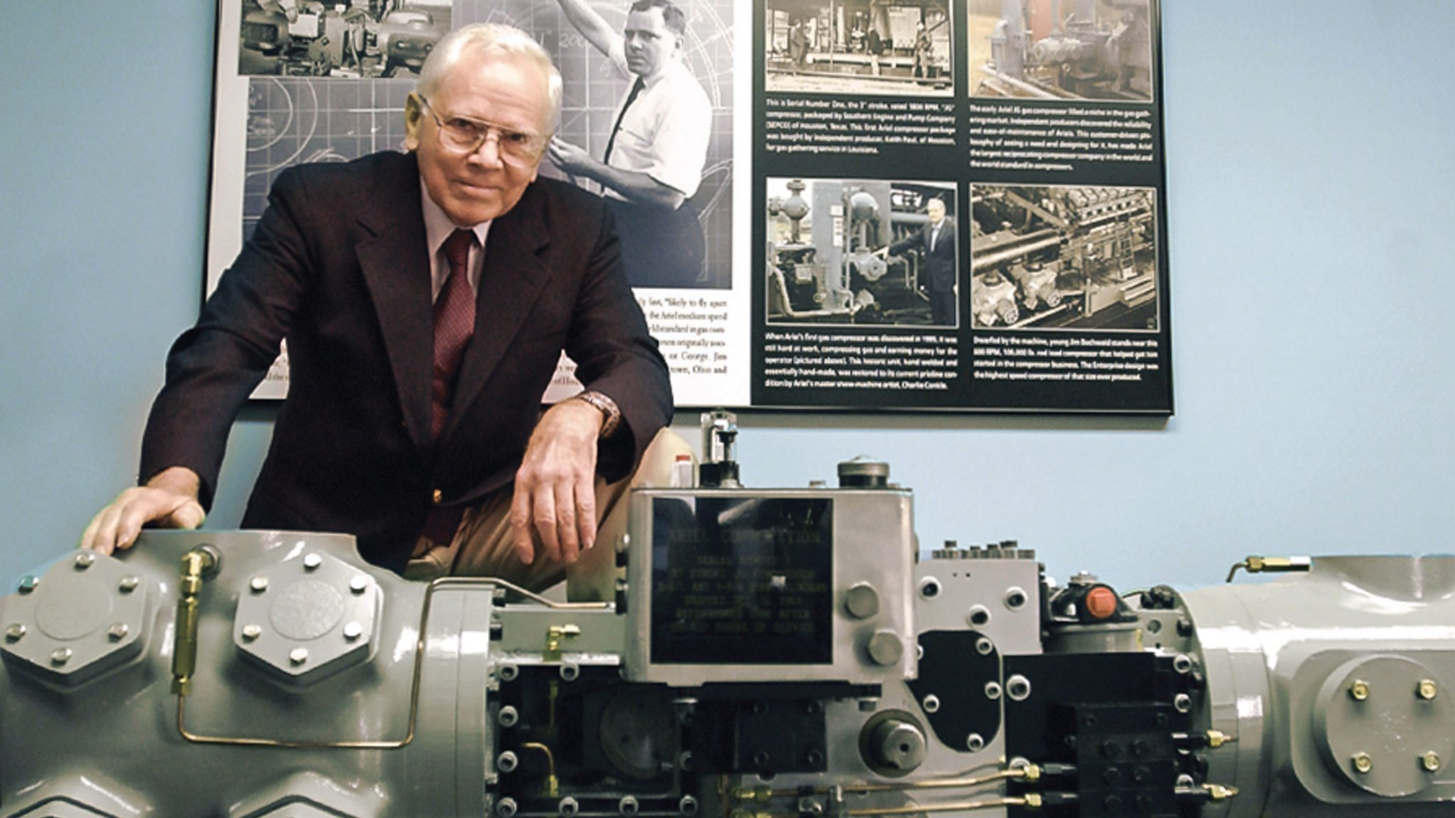 Founder of Ariel, Jim Buchwald stands behind the first Ariel Compressor
