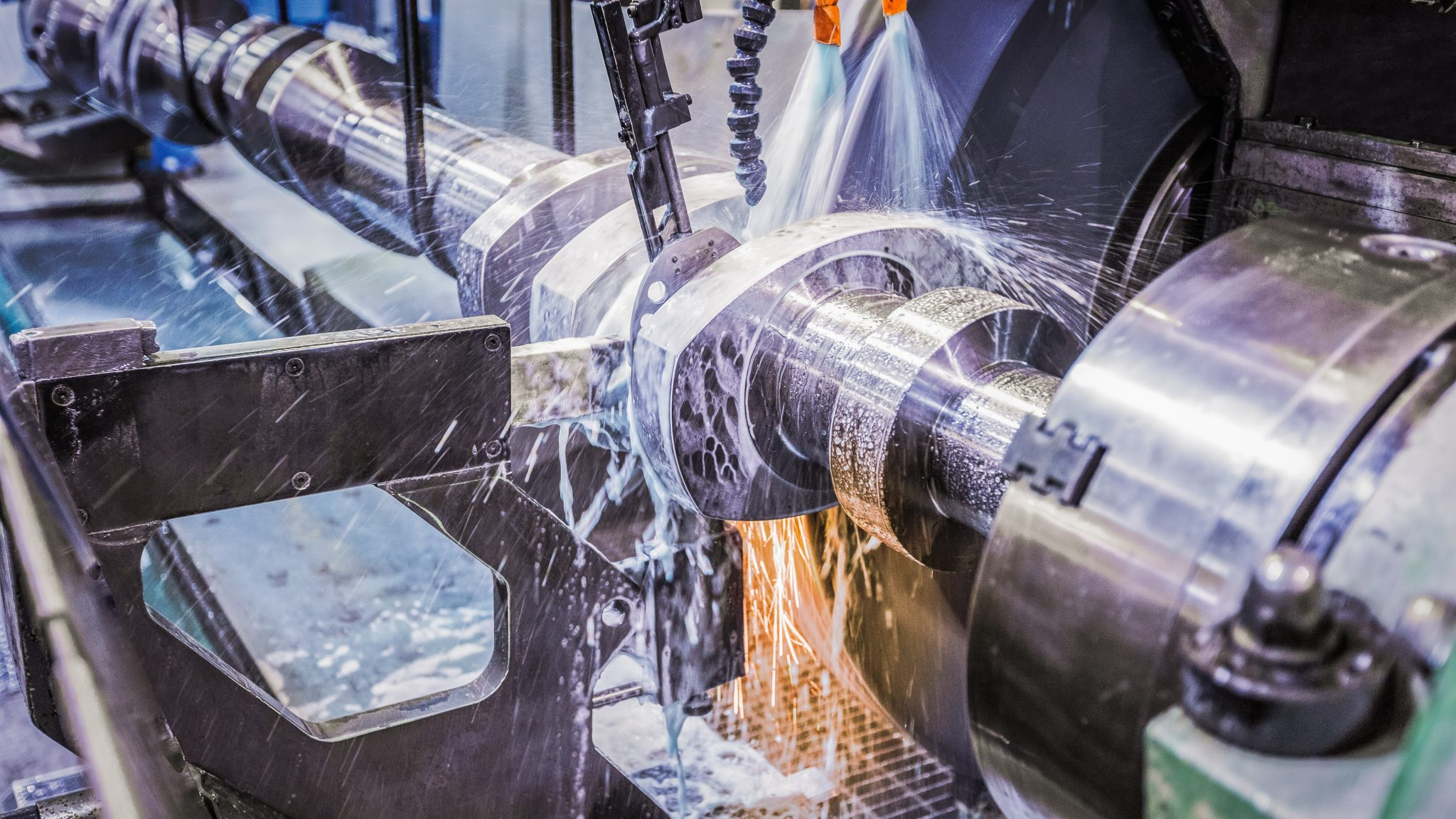 An Ariel crankshaft going through its grinding process
