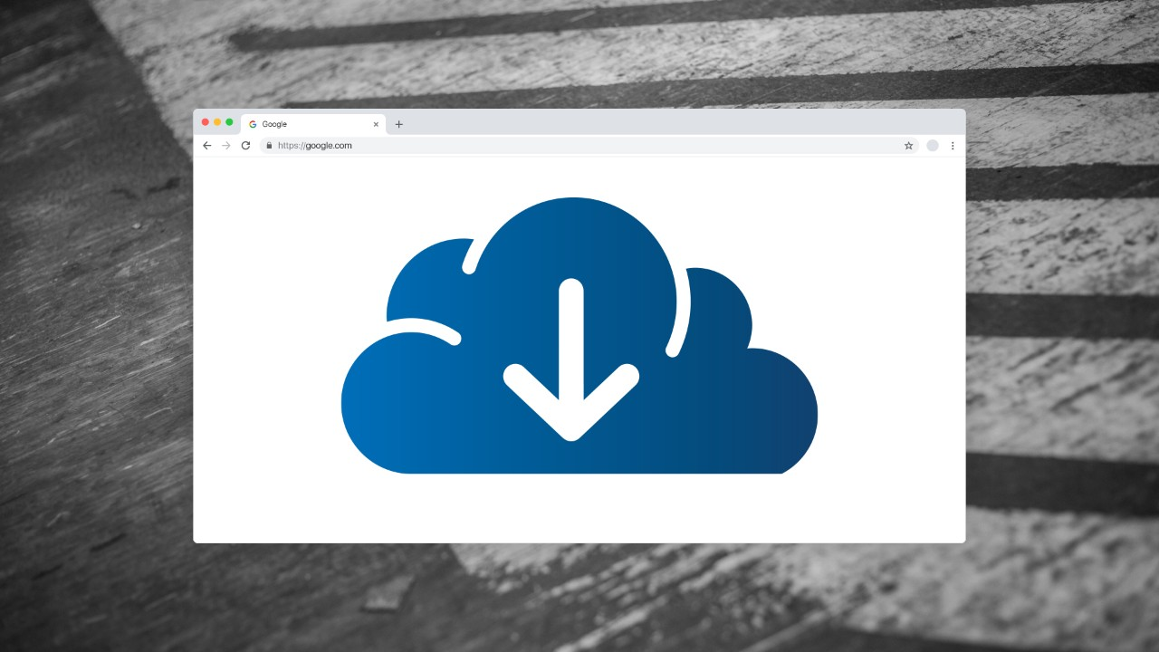 A web browser window with a large cloud download icon